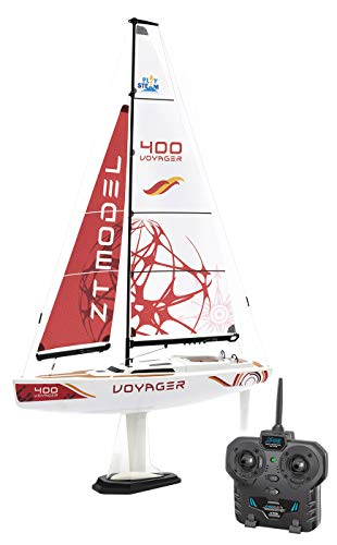 rc sailboat models PLAYSTEAM Voyager 400 RC Controlled Wind Powered Sailboat in Red - 21