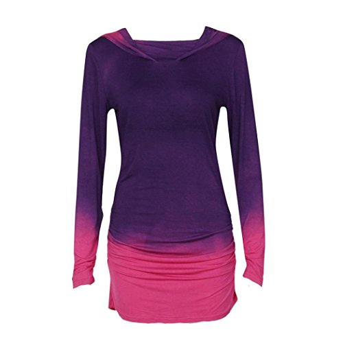 Preisvergleich Produktbild Amlaiworld Frauen Bluse,  Frauen Hoodies Sweatshirts Casual Langarm mit Kapuze Farbverlauf Hemd Bluse (S,  lila)