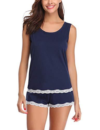Aibrou Damen Schlafanzug Kurz Sommer Pyjama Baumwolle Spitze Nachtwäsche Sleepwear mit Ärmlos Tanktop und Shorts Blau S
