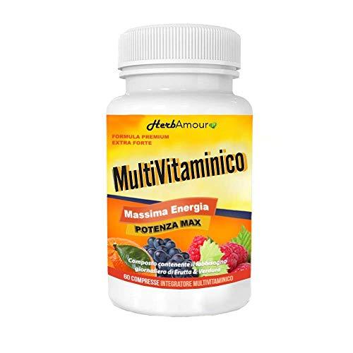 HerbAmour Multivitaminico Multiminerale Antiossidante Completo | 23 Composti Bioattivi | Vitamine A,B,C,D3,E,K2,H | Minerali Alto Assorbimento | Integratore Per Uomo E Donna | 60 Compresse