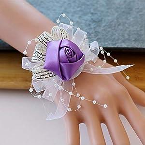 Silk Flower Arrangements Ansofi Girl Bridesmaid Wrist Corsage Wedding Bridal Silk Wrist Flower with Faux Pearl Bead Stretch Bracelet Wristband for Wedding Prom Hand Flowers Decor Pack of 2