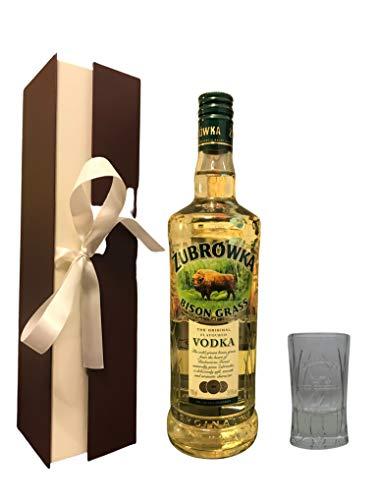 Geschenkidee Żubrówka Bison Grass Vodka + Original Żubrówka Shot Glas in Geschenkbox - (35,64€/Liter)