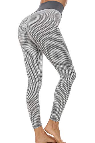 GLESTORE Legging Anti Cellulite Femme Fitness Leggings de Compression Taille Haute Butt Lift Pantalon Yoga Elastique pour Sport Jogging Pilates Gris Large