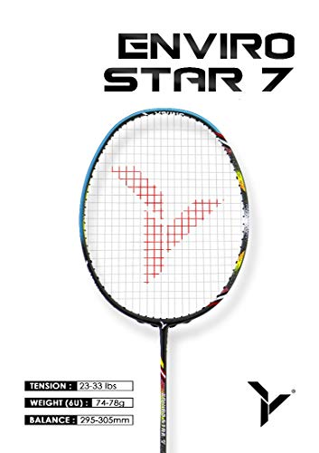 Young ENVIRO Star Professional Badminton Racket, Lightweight, Japan High Modulus 40-Ton Graphite, Includes Carrying Bag (BWF World Championship Series) (Strung, Enviro 7)