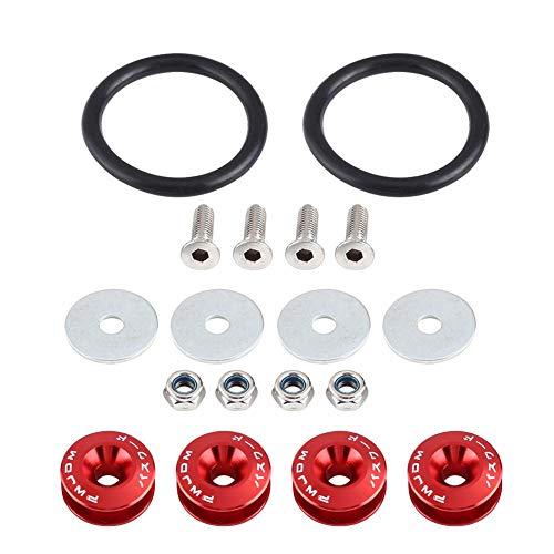 KIMISS Soporte para parachoques, arandela de parachoques de aleación de aluminio para coche/kit de fijación para compartimento motor perno de fijación rápida default rojo