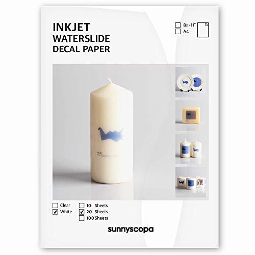 Sunnyscopa Waterslide Decal Paper for INKJET Printer - WHITE, US LETTER SIZE...