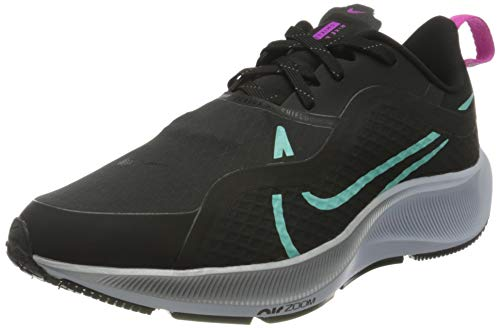 Nike Air Zm Pegasus 37 Shield, Zapatillas para Correr Mujer, Black Aurora Green Dk Smoke Gr, 42.5 EU