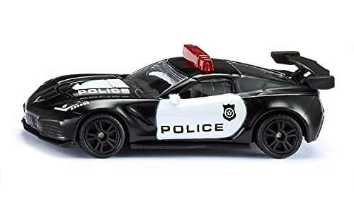 siku 1545, Chevrolet Corvette ZR1 Police, Metall/Kunststoff, Schwarz/Weiß, Motorhaube zum Öffnen, USA-Polizei Design