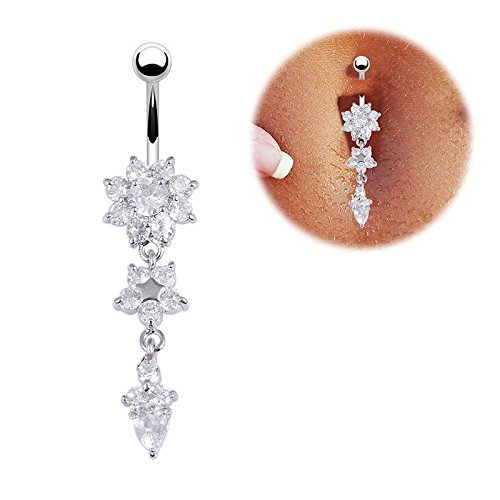 Calistouk Glockenring-Piercing, Kristall-Blume, baumelnd, für Bauchnabel, elegant, sexy, schön, 1 Stück silber