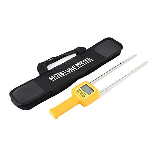 Nowakk TK100S Digital LCD Grain Moisture Meter Tester Corn Wheat Rice Bean Wheat Cakes Flour Starch Fodder Damp Hygrometer Tool - Yellow
