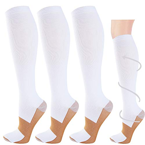 3 Pairs Copper Compression Socks for Men & Women 20-30 mmHg Graduated Compression Stockings for Sports Running(White,S/M)