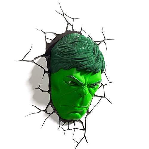 YINGYINGSM lámpara de Pared La Pared del LED 3D Lámpara del Dormitorio Sala de Estar Creativo luz de la Noche (Emitting Color : The Face of Hulk)