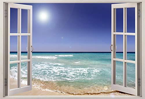 Cassisy 3x2m Vinilo Mar Telon de Fondo Vista al océano Tropical Playa de Arena Ventana Abierta Paraiso Fondos para Fotografia Party Photo Studio Props Photo Booth