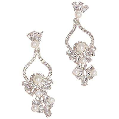 Pearl and Crystal Floral Teardrop Earrings Style ER23143, Silver