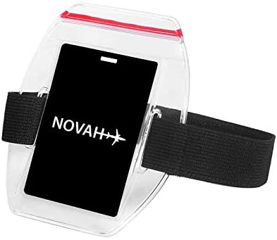 Water Resistant Armband ID Badge Holder with Resealable Red Zip Rugged Adjustable Arm Band Perfect product image