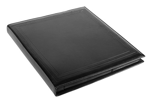 Red Co. Black Faux Leather Family Photo Album with Embossed Borders – Holds 500 4x6 Photographs