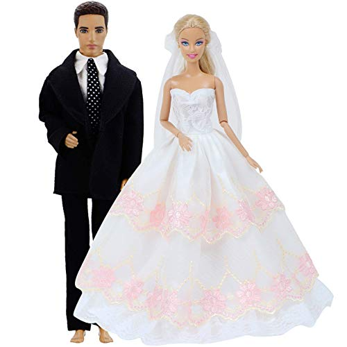 ZSMD Outfits White Pink Lace Layered Wedding Dress + Men Suit Ball Gown Princess Accessories Clothes for Barbie