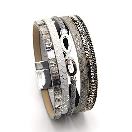 MUERDOU Infinity Leather Cuff Bracelets for Women Handmade Wrap Bangle Boho Bracelets Gifts for Women Teen Girl Gray