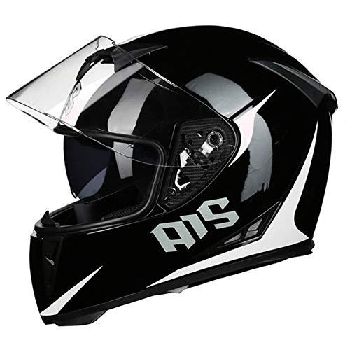 HVW Casco de Motocicleta, Certificado por Dot/ECE Casco de protección Integral de Calle Modular con Doble Visera de ventilación, ciclomotor, Scooter, Casco Integral de Motocross,C,XXL62to63cm