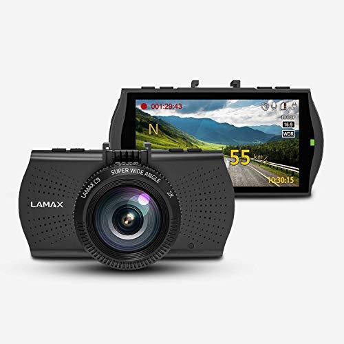 LAMAX C9 2K Dashcam Auto Kamera - Videoregistrator Für Auto - Kompakte Autokamera Dash Cam mit 2560×1080 Auflösung und 2,7\'\' LCD-Display, GPS mit Radarwarner, Nachtsicht, WDR, G-Sensor