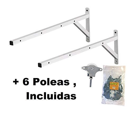 Monchy TENDEDERO Pareja Pared ESCUADRA, 6 POLEAS Incluye PLETINA, Acero EPOXI. Medidas 51 X 21 X Tubo 2 X 2 CM.