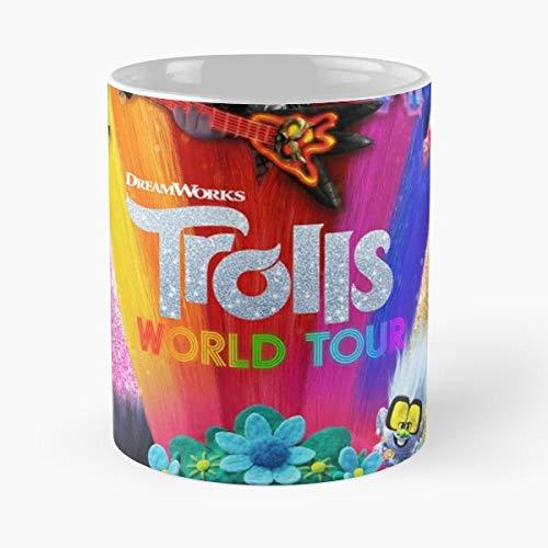 Movie Tour 2020 Trolls World Best Taza de café de cerámica de 315 ml con texto en inglés 'Eat Food Bite John Best Taza de café de cerámica de 315 ml