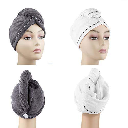 Microfiber Hair Drying Towels, Fast Drying Hair Cap, Long Hair Wrap,Absorbent Twist Turban, White, Dark Gray (2 pack) ¡­
