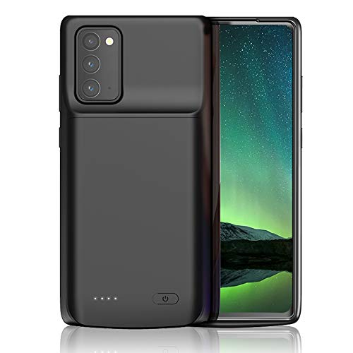 AcmeT Galaxy Note 20 Battery Case, 6000mAh Slim External Backup Charging Pack, Rechargeable Power Extended Battery Charger Case for Samsung Galaxy Note 20 - Black