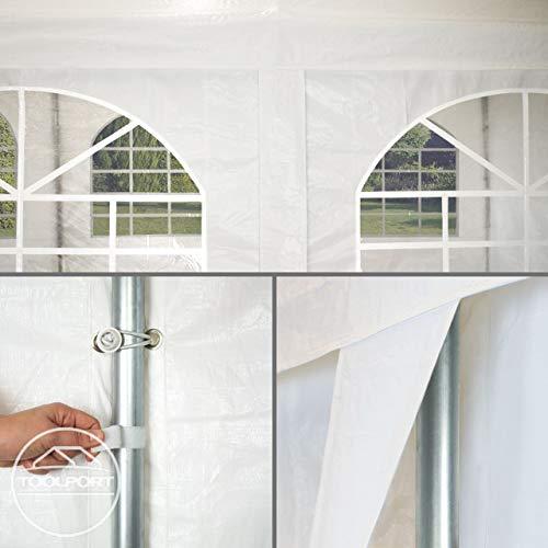 TOOLPORT Hochwertiges Partyzelt 4x8 m Pavillon Zelt 240g/m² PE Plane Gartenzelt Festzelt Wasserdicht weiß - 9