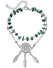 خلاخيل للنساء والفتيات من ترتر بلون تركواز، مجموعة اساور كاحل قابلة للتعديل من بوهو، مجوهرات قدم متعددة الطبقات