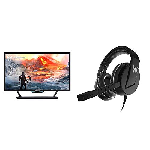 "Acer Predator CG437K Pbmiiippuzx 43"" 4K UHD NVIDIA G-SYNC Compatible Gaming Monitor with Acer Predator Galea 311 True Harmony Sound Gaming Headset"