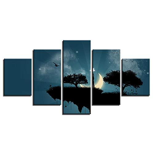 Wslin Canvas foto's Wandkunst Hd Prints Abstract View Poster 5 stuks Maan Sterren Stel Klippenbomen Schommel Schilderen Wooncultuur Print op canvas 150X80cm