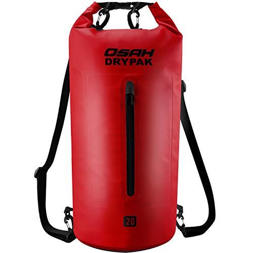 OSAH DRYPAK Dry Bag Wasserdichter Packsack wasserdichte Tasche Sack Beutel Lang Schulter Verstellbarer Schultergurt für Kajak Boot Angeln Rafting Schwimmen Wassersport Treiben (Rot, 10L)