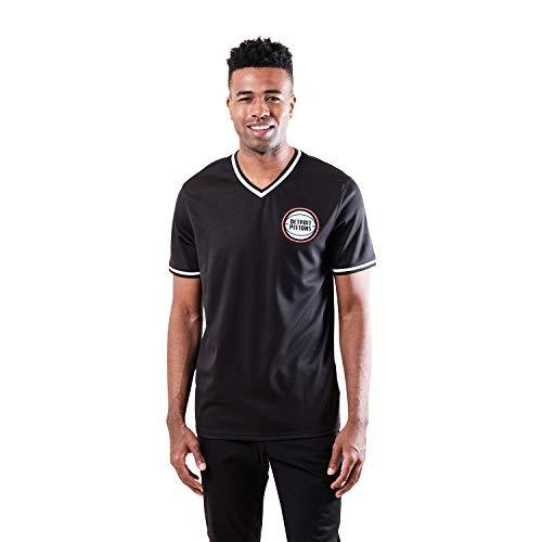 Ultra Game NBA Detroit Pistons Mens Jersey V-Neck Mesh Short Sleeve Tee Shirt, Black, Large