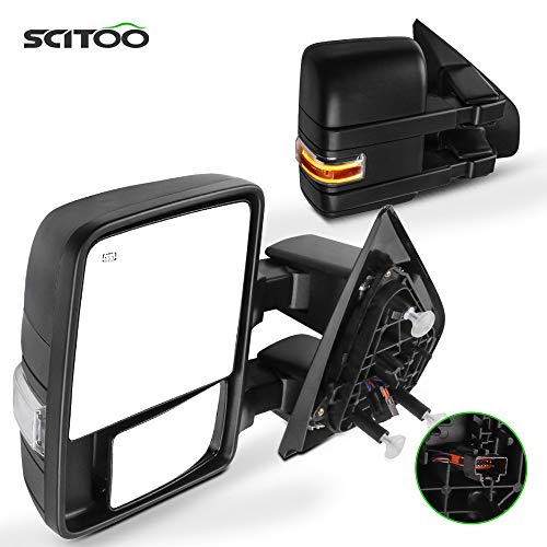 SCITOO fit for Ford for F150 Towing Mirrors with Puddle Light Black Rear View...