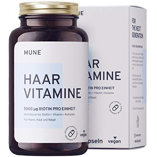 Vegane Biotin Haar-Vitamine - Einführungspreis - 120 Kapseln 5000µg 2 Monatsvorrat B-Vitamine Selen Zink Folsäure Hirseextrakt gesundes Haarwachstum Bartwuchs und Haarausfall Frau Mann Laborgeprüft