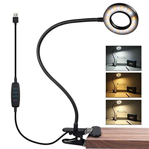 Semlos 24 LED Lampe de bureau à pince - 3 modes d'éclairage - 10 niveaux de luminosité - Confortable pour les yeux des enfants - Col de cygne flexible à 360°