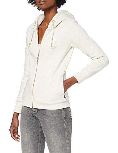 Superdry Womens Established Zip Hood Cardigan Sweater, Oatmeal Marl, XL (Herstellergröße:16)