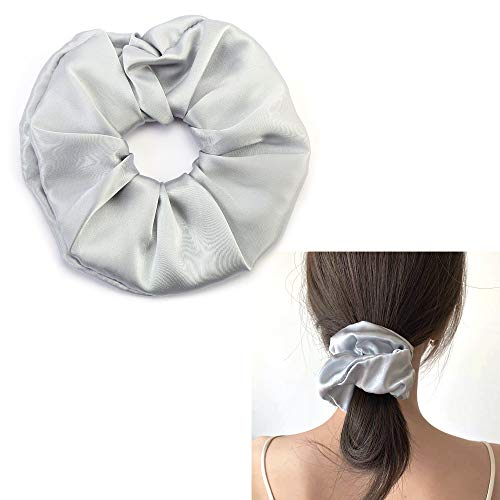 100% Silk Scrunchie, Pure Mulberry Silk Hair Ties, Super Soft Silky Gray Hair Elastic Bands, Gentle Ponytail Holder No Hurt Hair Ring for Women Girls by JIAHANG