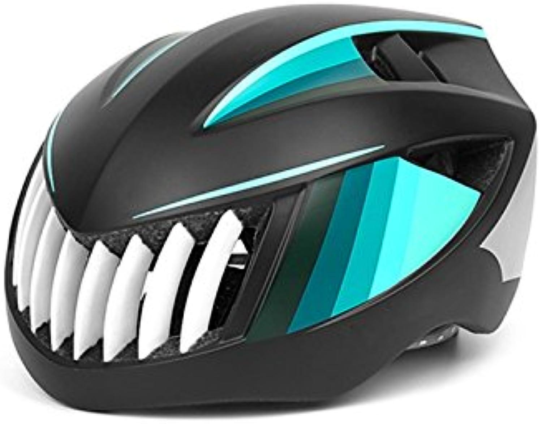 AHIMITSU Helm Erwachsener Einstellbarer Helm Ventilations-Zyklus-Sturzhelm Einteiliger Sturzhelm (Schwarzes  Cyanblau) Sportartikel B07JHGMPBY  Hohe Qualität und geringer Aufwand