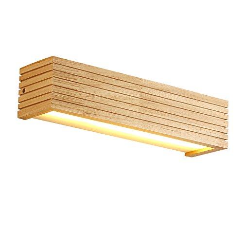 YUAN JIAN Moderne Holz Wandleuchten Badezimmer Spiegel Lampe Flur Wandleuchte Bett Licht Nordic Home Beleuchtung Wandleuchte Vintage Wandleuchten (Farbe : Warmweiß-55x9x8cm 8w)