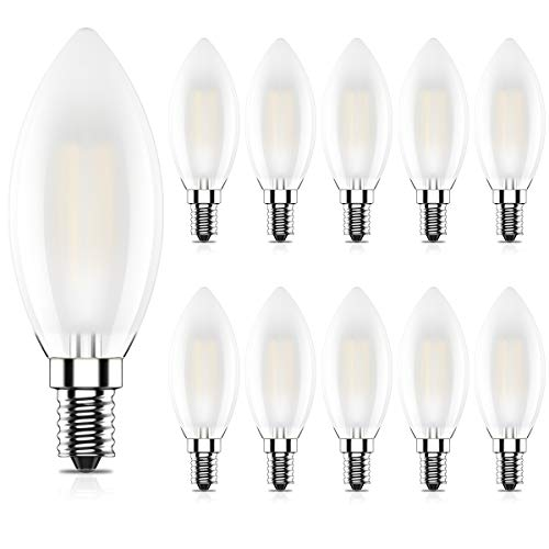 10er 4W Nicht Dimmbar LED Lampe in Kerzenform mit E14 Fassung,Ersetzt 40 Watt,LED Filament Kerze Birne Milchglas Warmweiß 2700K,400LM,CRI >80,AC 220-240V