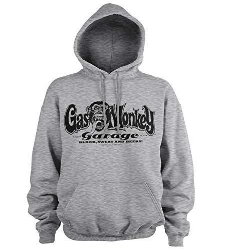 Gas Monkey Garage Offizielles Lizenzprodukt Logo Kapuzenpullover (H.Grau), XX-Large