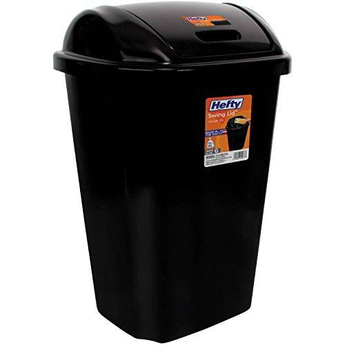 Heftys Swing-Lid 13.5-Gallon Trash Can, Black (1)