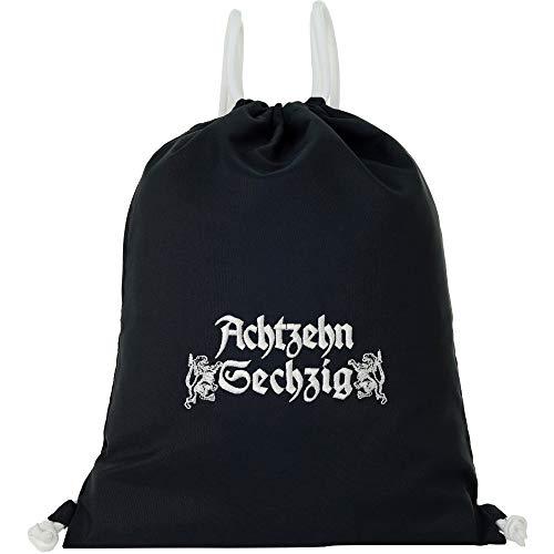 Bolsa de deporte impermeable negra con texto en alemán 'ACHTZEHNSECHZIG Gymsack hombre Gym Bag Hipster bolsa resistente hombre / mujer bolsa de deporte bolsa de deporte bolsa de regalo