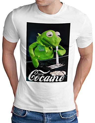 OM3® Enjoy-Cocaine-Frog T-Shirt | Herren | Kokain Kult Logo Drug Fun Graphic Shirt | Weiß, XL
