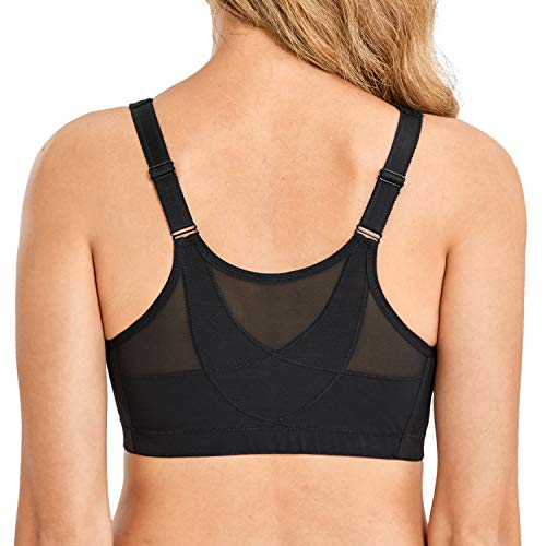 LAUDINE Women's Front Closure Wireless Back Support Full Coverage Posture Bra Black 50G