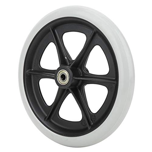 1pc 8 Inch Silla de ruedas Rueda delantera Goma antideslizante Reemplazo de rueda única Cojinete Diámetro interno 8 mm/0.3in