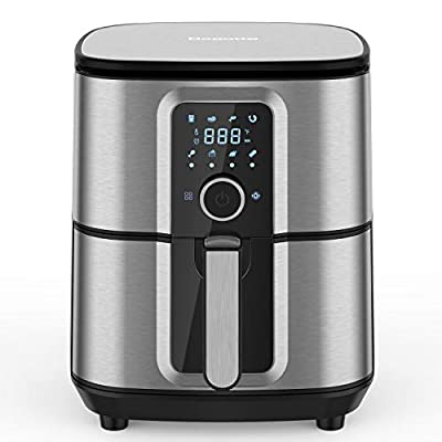 Bagotte Air Fryer, Max XL 5.8QT, Stainless Steel Electric Hot Air Fryers Oven Oilless Cooker, 360°Circulation Hot Air System, Nonstick Basket, Knob Controls & Touch Screen, 100 Recipes