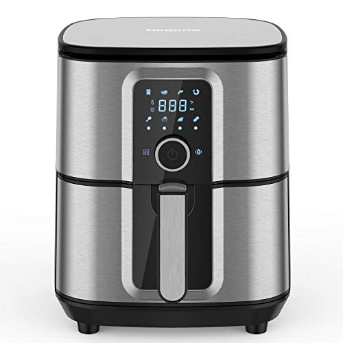 Air Fryer, Bagotte Large 5.8QT Air Fryers, 1700W Stainless Steel Electric Air Fryer Oven Oilless Cooker, 360°Circulation Hot Air System, Nonstick Basket, Knob Controls & Touch Screen, 100 Recipes